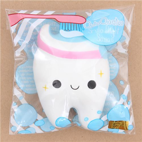 Cute White Tooth With Pink Blue Toothpaste Squishy