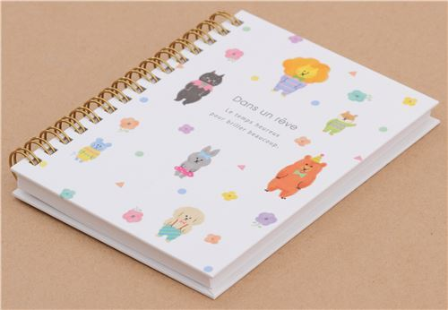 cute white with colorful lion bear cat animal dot binder notebook