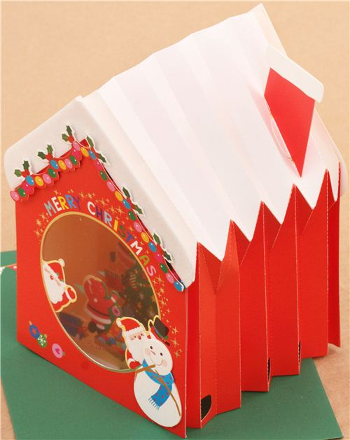 cute winter house christmas tree letter 3d pop up card from japan 5 - Tarjeta De Navidad En 3d