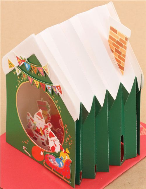 cute winter house fireplace socks christmas letter 3d pop up card from japan 4 - Tarjeta De Navidad En 3d