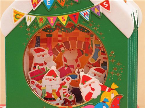 Cute Winter House Fireplace Socks Christmas Letter 3d Pop Up Card From Japan