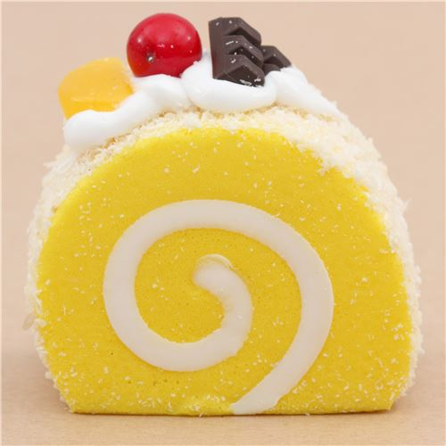Cute Yellow Roll Cake With Magnet Squishy Kawaii Food