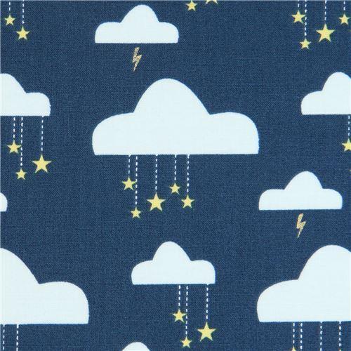 Dunkelblauer Stoff Mit Wolken Und Goldenen Sternen Von Michael Miller