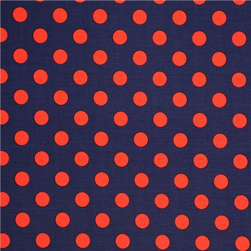 tessuto blu scuro michael miller con grandi pois rossi pois righe e quadri tessuti. Black Bedroom Furniture Sets. Home Design Ideas