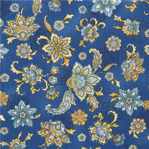 dark blue Robert Kaufman yellow green blue flower fabric LA Provence - Flower Fabric - Fabric
