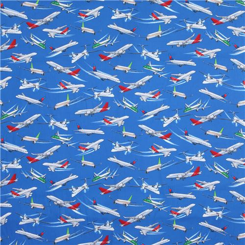 Dark blue airplane transport fabric by timeless treasures for Childrens airplane fabric
