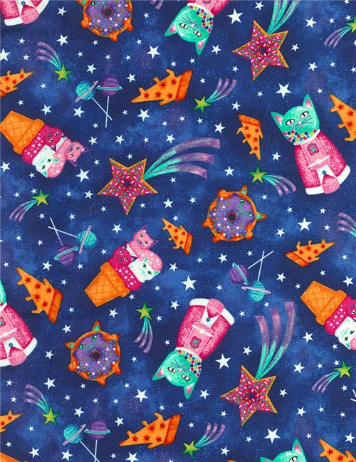 Dark blue fabric with funny colorful cat dessert space by for Space kitty fabric
