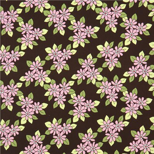 Dark Green Brown Michael Miller Fabric Cute Light Purple Flowers Prairie  Rose 3