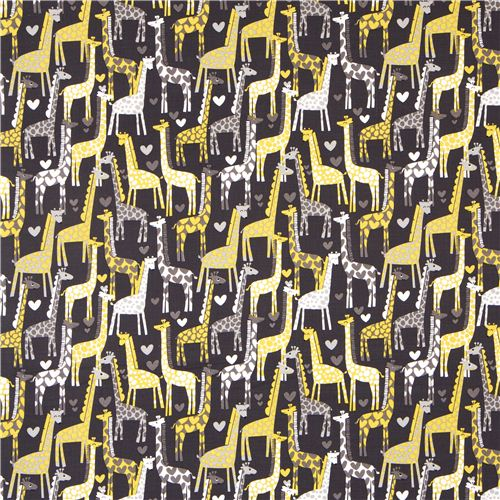Dark Grey Michael Miller Fabric Giraffe Love Heart Yellow
