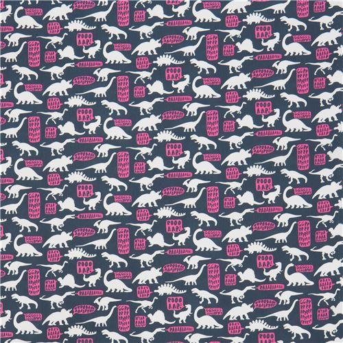 Dark grey blue fabric with dinosaur speech bubble by dear for Grey dinosaur fabric