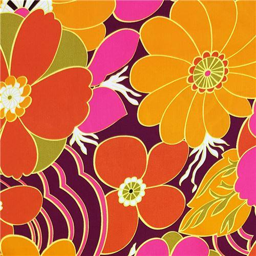 Fiori Grandi.Tessuto Viola Scuro Fiori Grandi Arancioni Rosa Dal Giappone Modes4u