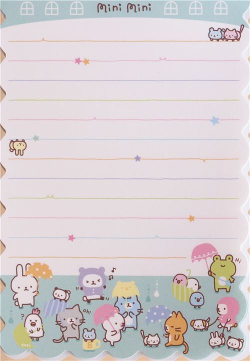 die cut small animals note pad by q lia memo pads stationery