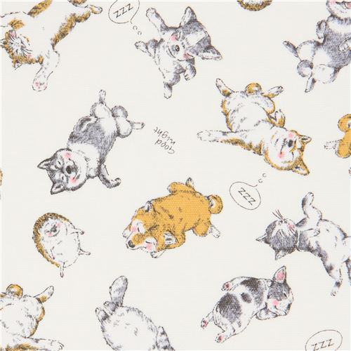 dog cat hedgehog animal oxford natural color fabric by Kokka ...