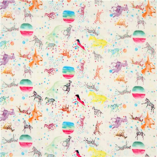 Double gauze fabric colourful horses stars from japan for Horse fabric for kids