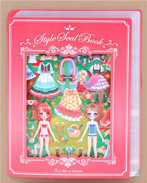 dress up puffy stickers pretty dresses clothes glitter pink fold out scene 1