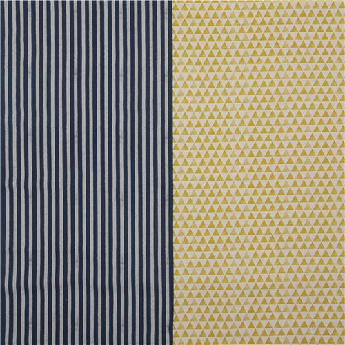echino canvas fabric natural color yellow triangle with grey dark blue stripe 3