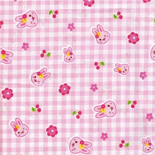 cute bunny cherry fabric kawaii japan kawaii fabric fabric kawaii shop modes4u. Black Bedroom Furniture Sets. Home Design Ideas