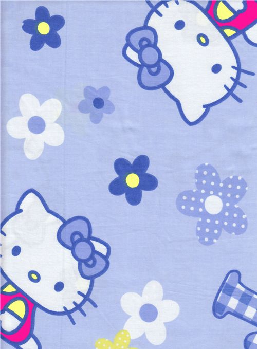 Blue Kawaii Fabric With Hello Kitty And Flowers Hello