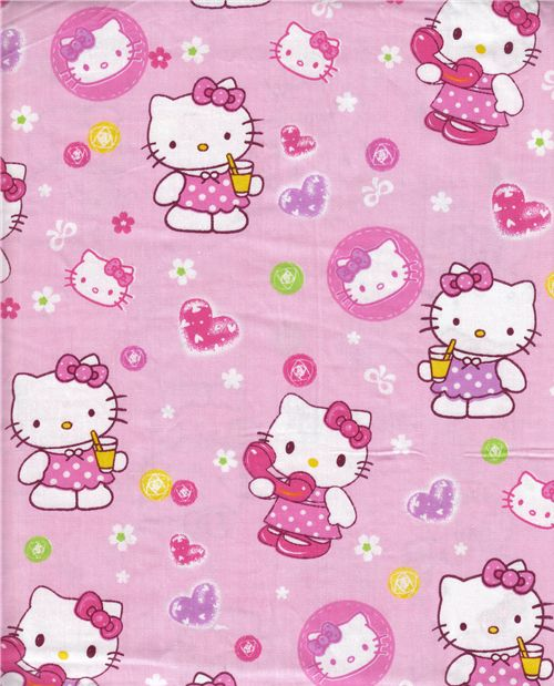 rose kawaii fabric with Hello Kitty and flowers 05m  Hello Kitty