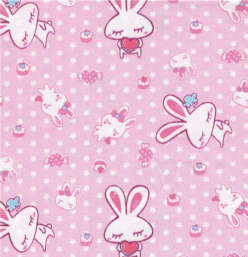 kawaii love bunny fabric pink stars kawaii fabric fabric kawaii shop modes4u. Black Bedroom Furniture Sets. Home Design Ideas