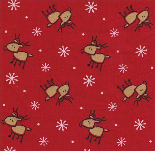 cute reindeer fabric christmas snowflakes christmas. Black Bedroom Furniture Sets. Home Design Ideas