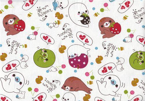 mamegoma fabric with san x baby seals 1m san x fabric fabric kawaii shop modes4u. Black Bedroom Furniture Sets. Home Design Ideas