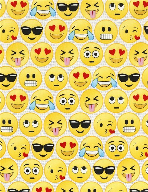 Fabric With Funny Emoji Face By Timeless Treasures