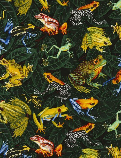 Tela multicolor con hojas verdes ranas colores animal de Timeless ...
