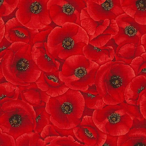 Fabric With Red Poppy Flower By Timeless Treasures Flower Fabric