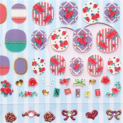 flower roses ribbons fingernail glitter stickers from Japan - modeS4u
