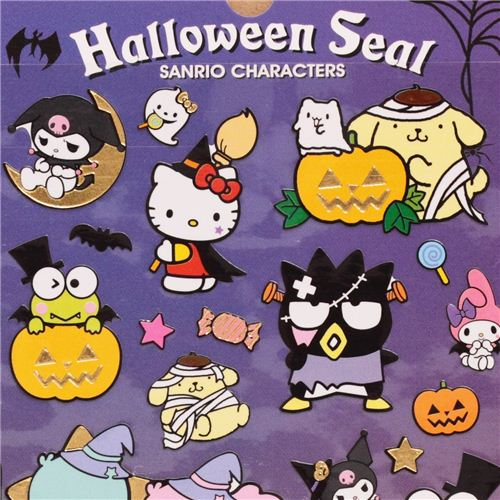 Funny Hello Kitty Halloween Stickers With Gold Metallic By