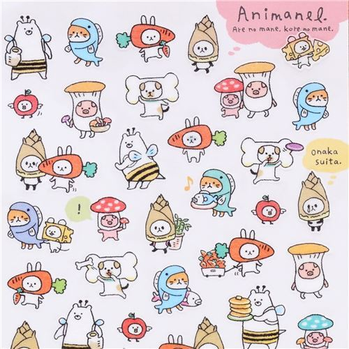 Funny animal food outfit semi transparent masking tape stickers by mind wave 1
