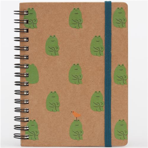funny brown frog sitting animal ring binder notebook from Japan ...