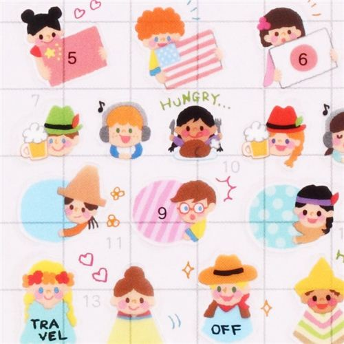 funny children world flags calendar stickers note stickers