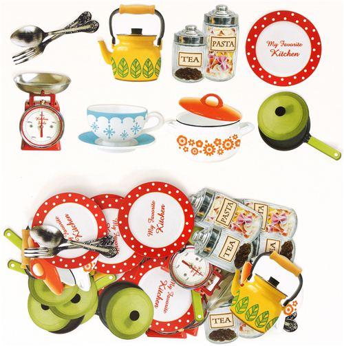 Graciosas pegatinas con art culos de cocina de jap n bolsitas de pegatinas pegatinas - Pegatinas para cocina ...