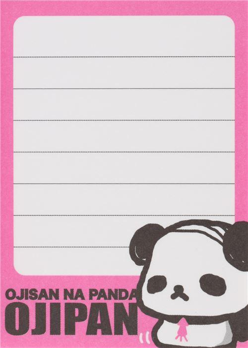 funny pink cover ojipan panda bear mini memo pad 3