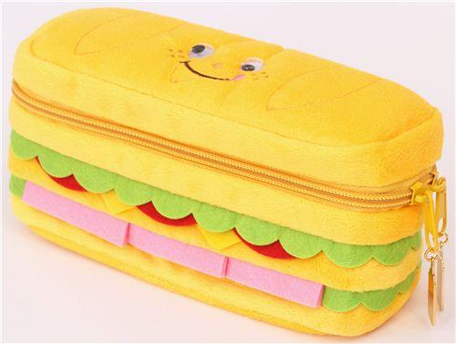 funny sandwich bread plush pencil case from Japan