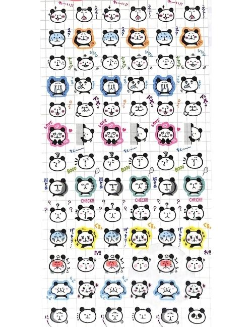 Funny small silly panda animal face semi transparent stickers by mind wave 1
