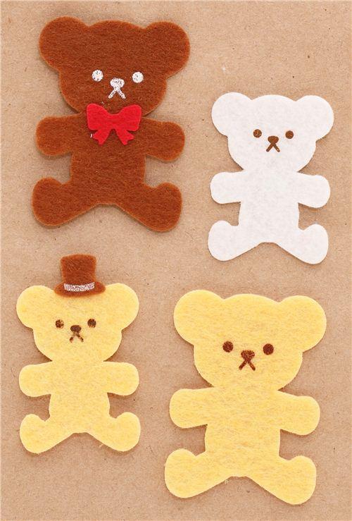 funny teddy bear felt stickers by kamio from japan animal stickers