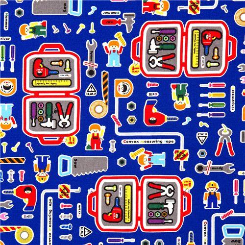 lustiger Werkzeugkiste Kinder Stoff für Jungs aus Japan - Stoffe für ...