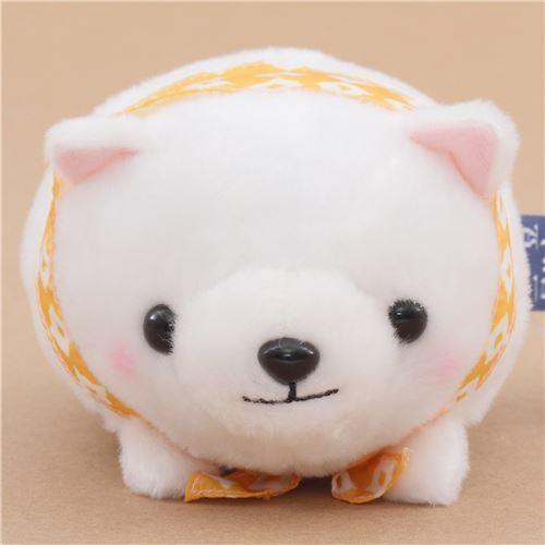 Funny White Dog Yellow Scarf Mameshiba San Kyodai Plush Toy Japan