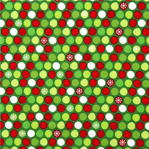 green Christmas fabric dots snowflake Robert Kaufman - Christmas ...