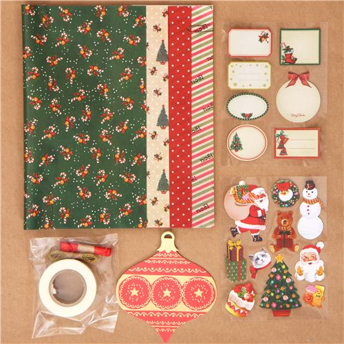 Green christmas gift wrapping paper kit from japan other cute green christmas gift wrapping paper kit from japan 1 negle Image collections