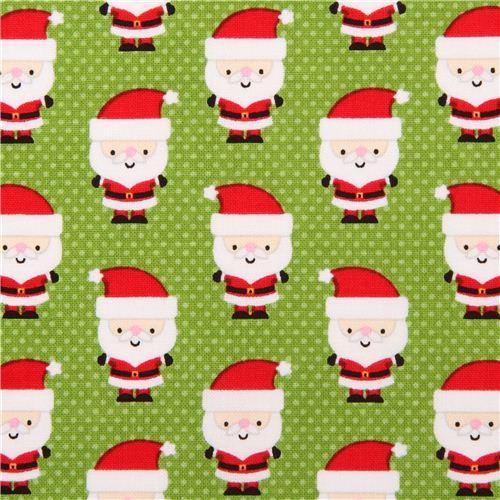 Tessuto Verde Riley Blake Mini Babbo Natale 39 Santa Express