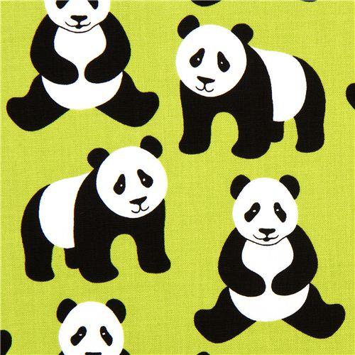 green robert kaufman fabric menagerie with panda bears animal fabric fabric kawaii shop. Black Bedroom Furniture Sets. Home Design Ideas