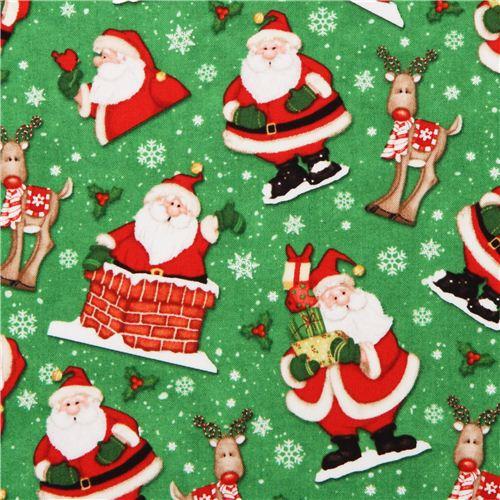 Green Santa Claus Christmas Fabric Believe 1