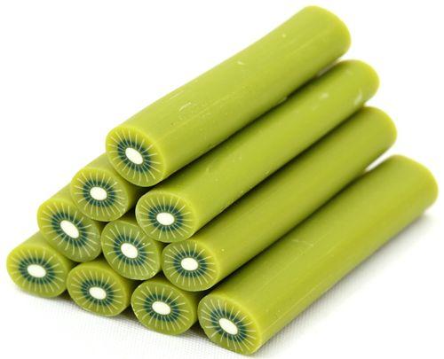 Green Big Kiwi Miniature Cane Clay Fimo Sticks 5 Pcs