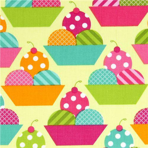 Green Fabric With Ice Cream Cups By Robert Kaufman Food Fabric