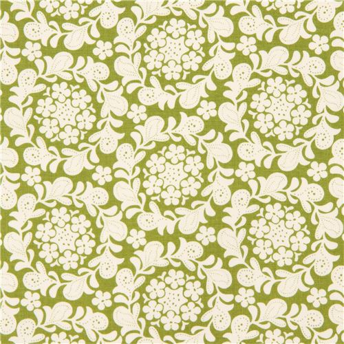 green off-white fabric flower leaf by Michael Miller Petit Henna ...