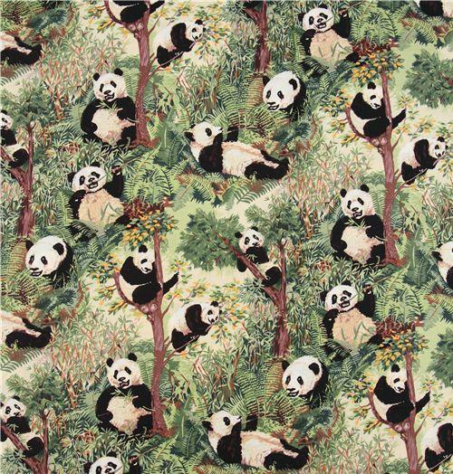 Green Panda Bear Jo Ann Fabric With Bamboo 0 5m Kawaii